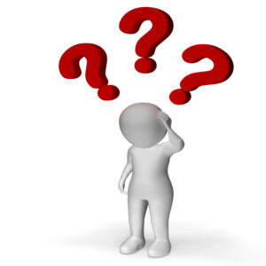 Question Marks Over Man Showing Confusion And Uncertainty
